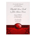 Invitación roja del boda del damasco de la cinta