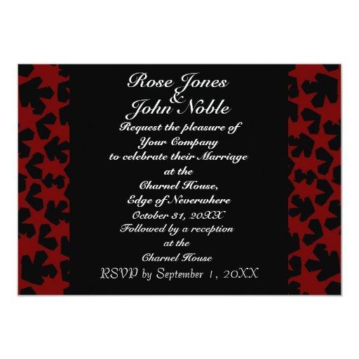 Invitación (roja) del boda del ébano de las Novas