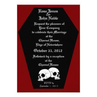 Invitación roja del boda del ébano del ataúd