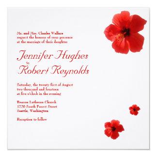 Invitación roja del boda del hibisco