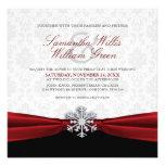 Invitación roja del boda del invierno de la cinta