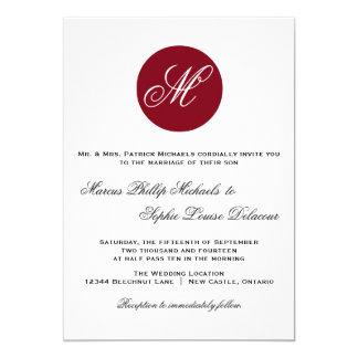 Invitación roja del boda del monograma del círculo