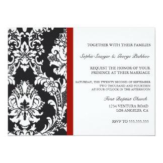 Invitación roja del boda del vintage