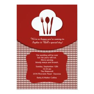Invitación (roja) del brunch del boda del poste