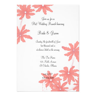 Invitación roja del brunch del boda del poste de l