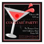 Invitación roja del cóctel de Martini