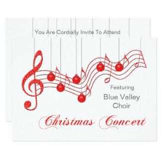 Invitación roja del concierto del navidad del