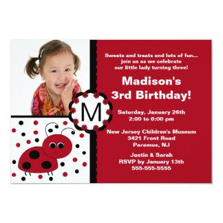 Invitación roja del cumpleaños de la foto de la