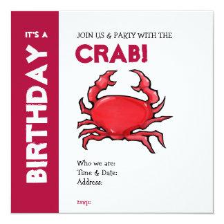 Invitación roja del cumpleaños del cangrejo