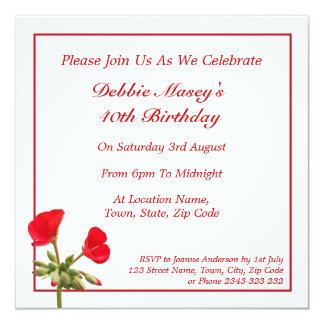 Invitación roja del cumpleaños del geranio