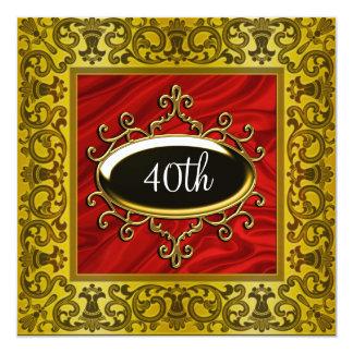 Invitación roja del cumpleaños del negro del oro
