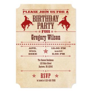Invitación roja del cumpleaños del vaquero del