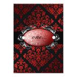 invitación roja del damasco del regaliz invitación 12,7 x 17,8 cm