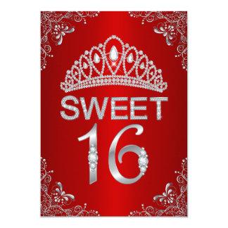 Invitación roja del dulce 16 de la tiara del