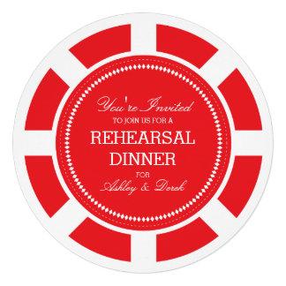 Invitación roja del ensayo del boda de la ficha de