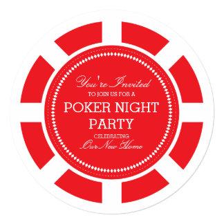 Invitación roja del fiesta de la noche del juego