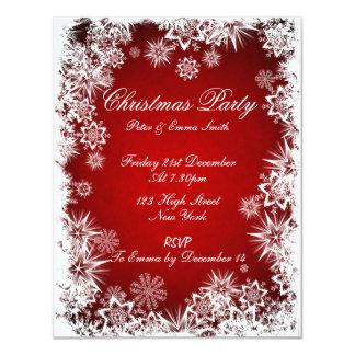 Invitación roja del fiesta de los copos de nieve