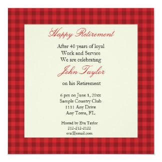 Invitación roja del fiesta de retiro de la tela