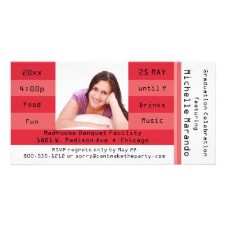 Invitación roja del fiesta del boleto de la tarjeta fotografica