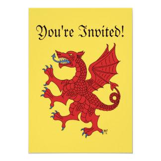 Invitación (roja) desenfrenada del dragón