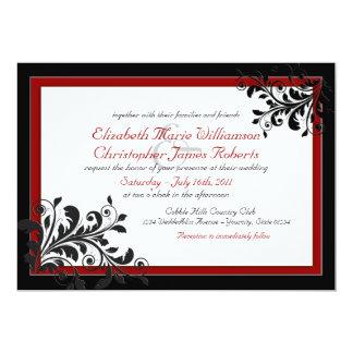Invitación roja elegante clásica del boda