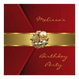 Invitación roja elegante de la joya del oro del