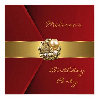 Invitación roja elegante de la joya del oro del te