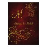 Invitación roja elegante del boda del monograma de