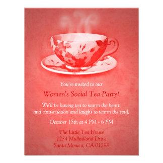 Invitación roja encantadora de la fiesta del té