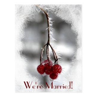 Invitación roja escarchada de la boda de las bayas tarjetas postales