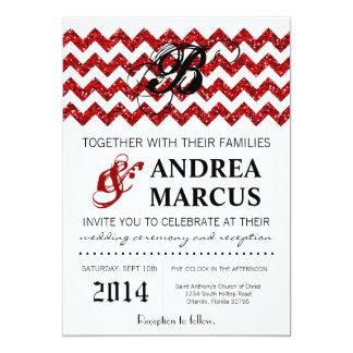 invitación roja moderna del boda de Chevron del