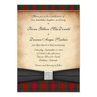 Invitación roja moderna del boda del tartán de