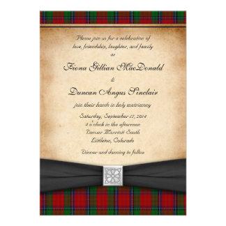Invitación roja moderna del boda del tartán de Sin