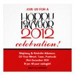Invitación roja negra de la Feliz Año Nuevo 2012