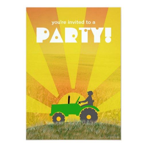Invitación roja o verde del fiesta del tractor: invitación 12,7 x 17,8 cm
