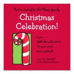 Invitación roja rizada de la fiesta de Navidad del