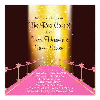 Invitación roja/rosada del dulce 16 de Hollywood Invitación 13,3 Cm X 13,3cm