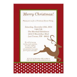 invitación roja verde de la fiesta de Navidad del
