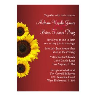 Invitación roja y amarilla del boda del girasol
