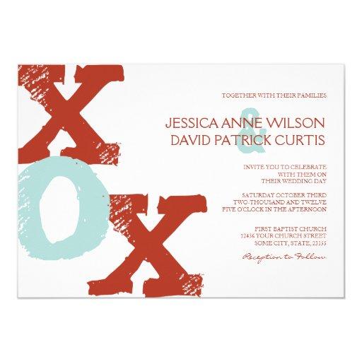Invitación roja y azul del boda de XOX