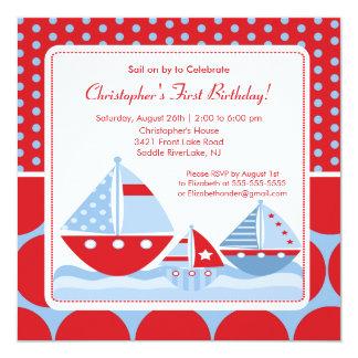 Invitación roja y azul del cumpleaños del velero invitación 13,3 cm x 13,3cm