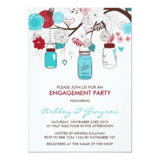 Invitación roja y azul del fiesta de compromiso de