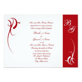 Invitación roja y blanca