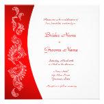Invitación roja y blanca del boda del modelo