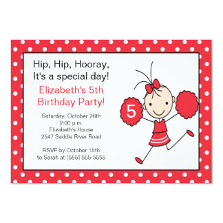 Invitación roja y blanca del cumpleaños de la invitación 12,7 x 17,8 cm