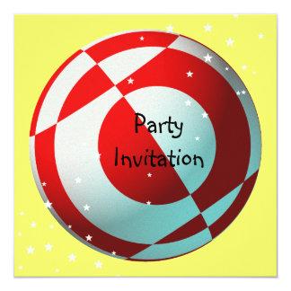 Invitación roja y blanca del fiesta del fútbol