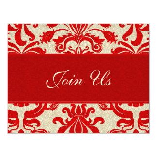 Invitación roja y de color topo de rubíes del