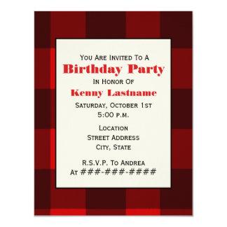 Invitación roja y negra de la fiesta de cumpleaños