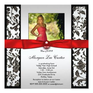 Invitación roja y negra de la graduación de la invitación 13,3 cm x 13,3cm