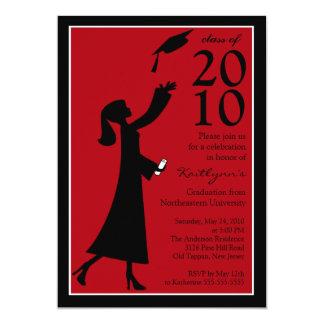 Invitación roja y negra de moda de la graduación